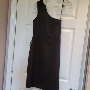 Express One shoulder midi black dress